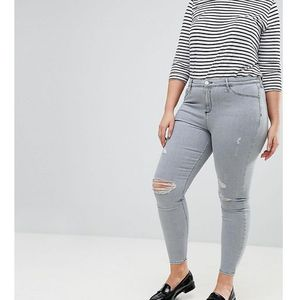 River Island Plus Molly Distressed Knee Jeans - Blue, jeans