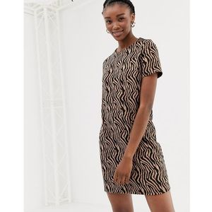 New look zebra jacquard tunic in brown pattern - brown