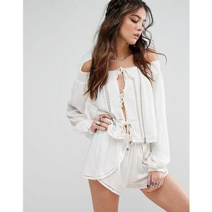 Lovers + Friends Off-Shoulder Rope Front Top - White