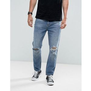 Rollas Stubs Rolled Jeans Orignal Stone Wash Busted Knees - Blue