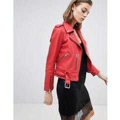 AllSaints Belted Leather Jacket - Red