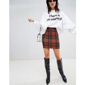 Stradivarius tartan mini skirt - Red, kolor czerwony