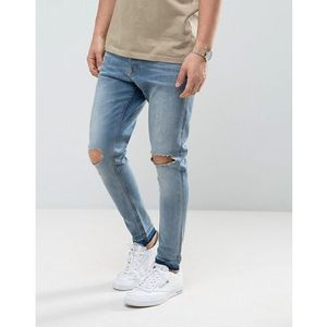 Brave Soul Skinny Carrot Fit Distressed Jeans - Blue, kolor niebieski