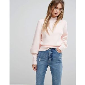 Selected long sleeve knit jumper - pink