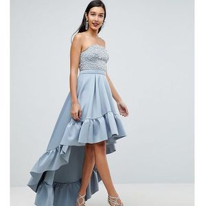 Asos tall red carpet scuba dip back midi dress - grey, Asos edition