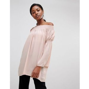 Love long sleeve bardot tunic - pink