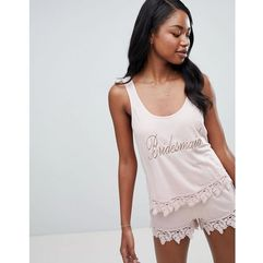 design bridal bridesmaid vest and short pyjama with lace trim - pink, Asos