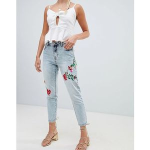 tonni floral embroidered jeans - blue marki Only