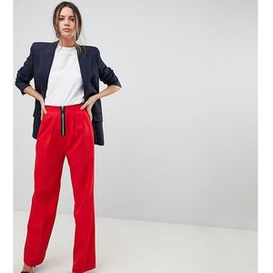 Asos tall wide leg trouser with zip front - red