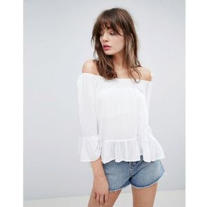 off the shoulder top with fluted sleeve - white, Minimum
