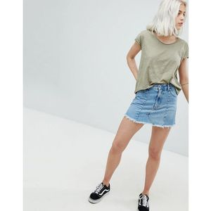 frayed edge denim mini skirt - blue marki Pull&bear