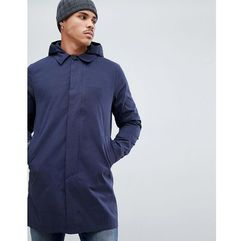 Bellfield longline overcoat with hood in navy - Navy