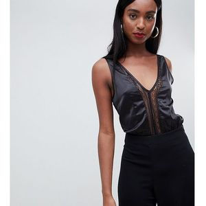 Missguided Tall satin lace insert body in black - Black