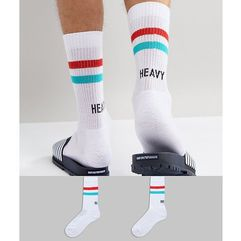 Asos design sports socks with heavy weights embroidery 2 pack - white