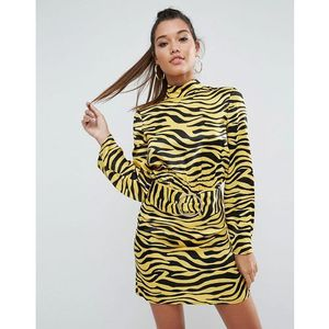 ASOS Zebra Print High Neck Belted Mini Dress - Multi