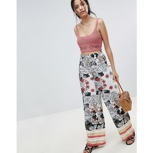 wide leg floral trousers with border print - white marki Parisian