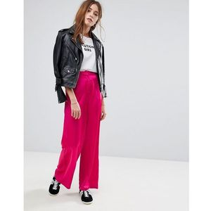 wide leg trousers in satin - pink marki Glamorous