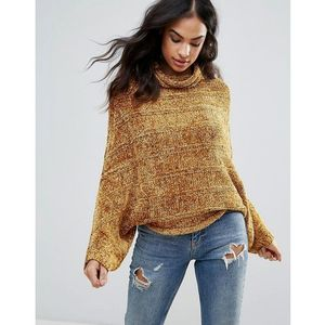 Free People Velvet Dreams Wool Blend Roll Neck Jumper - Gold, w 4 rozmiarach