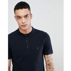 Allsaints polo shirt with logo in black - black