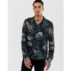 revere collar shirt in black with tiger print - black marki Allsaints