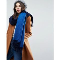 lambswool coloured blocked long scarf - navy marki Asos