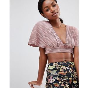 Love pleated kimono sleeve tie back crop top - pink