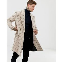 wool mix overcoat in window pane check - tan marki Asos design
