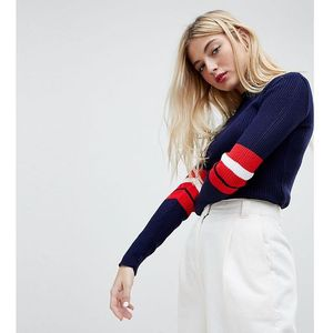 Daisy street knitted jumper with sports stripe - navy