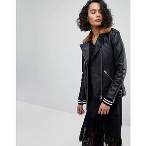 oversized leather jacket with faux fur collar - black, Allsaints