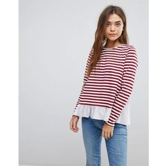After market stripe long sleeve t-shirt with frill hem - red
