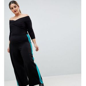 ASOS DESIGN Curve Wide Leg Trousers With Contrast Side Stripe - Black