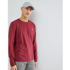 Abercrombie & Fitch Long Sleeve T-Shirt with Moose Logo in Burgundy - Red, kolor czerwony