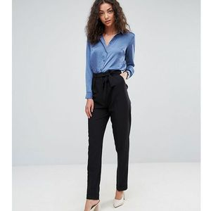 ASOS TALL Woven Peg Trousers with OBI Tie - Black