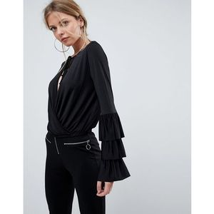 ASOS Wrap Front Top with Frill Sleeves and Tie Neck - Black
