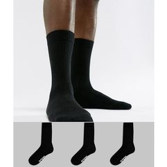 sports style socks in black with branded soles 3 pack - black marki Asos design