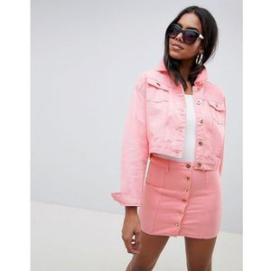 cropped trucker jacket with gold hardware - pink, Liquor n poker