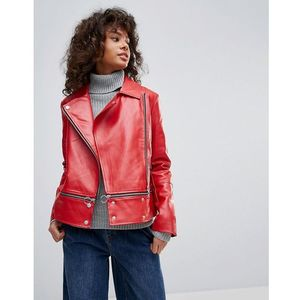 faux leather zip hem biker jacket - red marki Neon rose