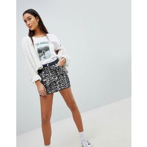 Parisian festival denim mini skirt with sequin front - grey