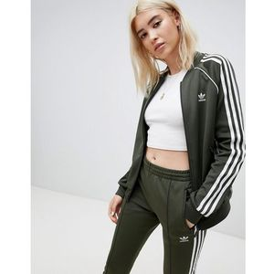 three stripe track jacket in khaki - green, Adidas originals