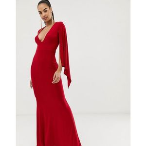 Club L V neck capre detail maxi dress - Red
