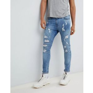 YOURTURN Super Skinny Jeans In Mid Blue With Rips - Blue, jeans