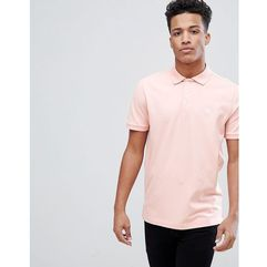 Abercrombie & Fitch Stretch Core Moose Icon Logo Slim Fit Polo in Coral - Pink, kolor różowy