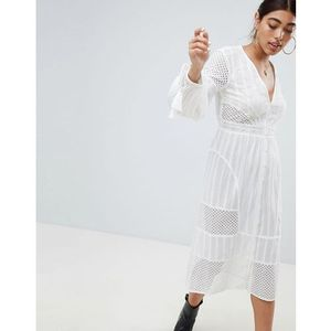 River Island Tassel Sleeve Broderie Midi Dress - White, kolor biały