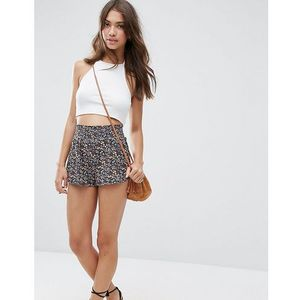 Asos petite shirred waist short in ditsy floral - multi