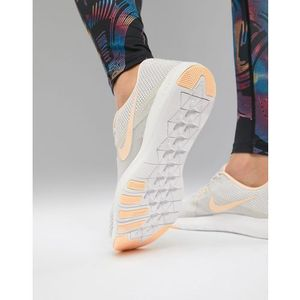 flex trainers in grey with peach swoosh - grey marki Nike training