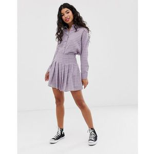 Daisy street pleated mini skirt in gingham co-ord - purple