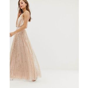 shimmer sequin maxi skirt in rose - pink, Needle & thread