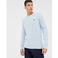 icon logo cable knit jumper in light blue - blue, Abercrombie & fitch