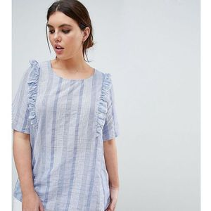 Junarose Stripe Top With Ruffle Shoulder - Blue
