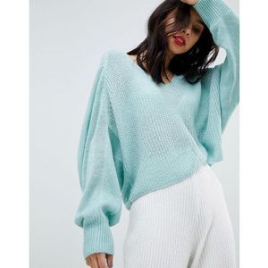 v-neck open knit slouch jumper - blue marki Micha lounge